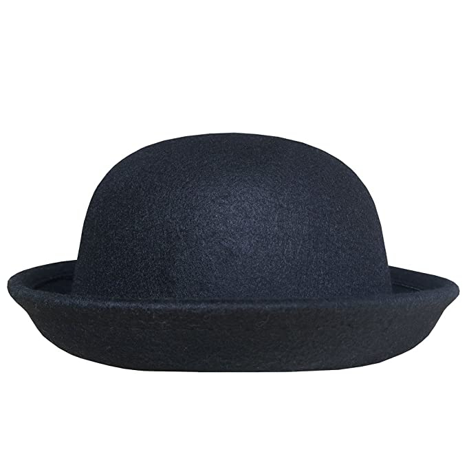 61289275699 Lujuny Trendy Wool Bowler Hats for Women - Cute Derby Caps with Roll-up Brim
