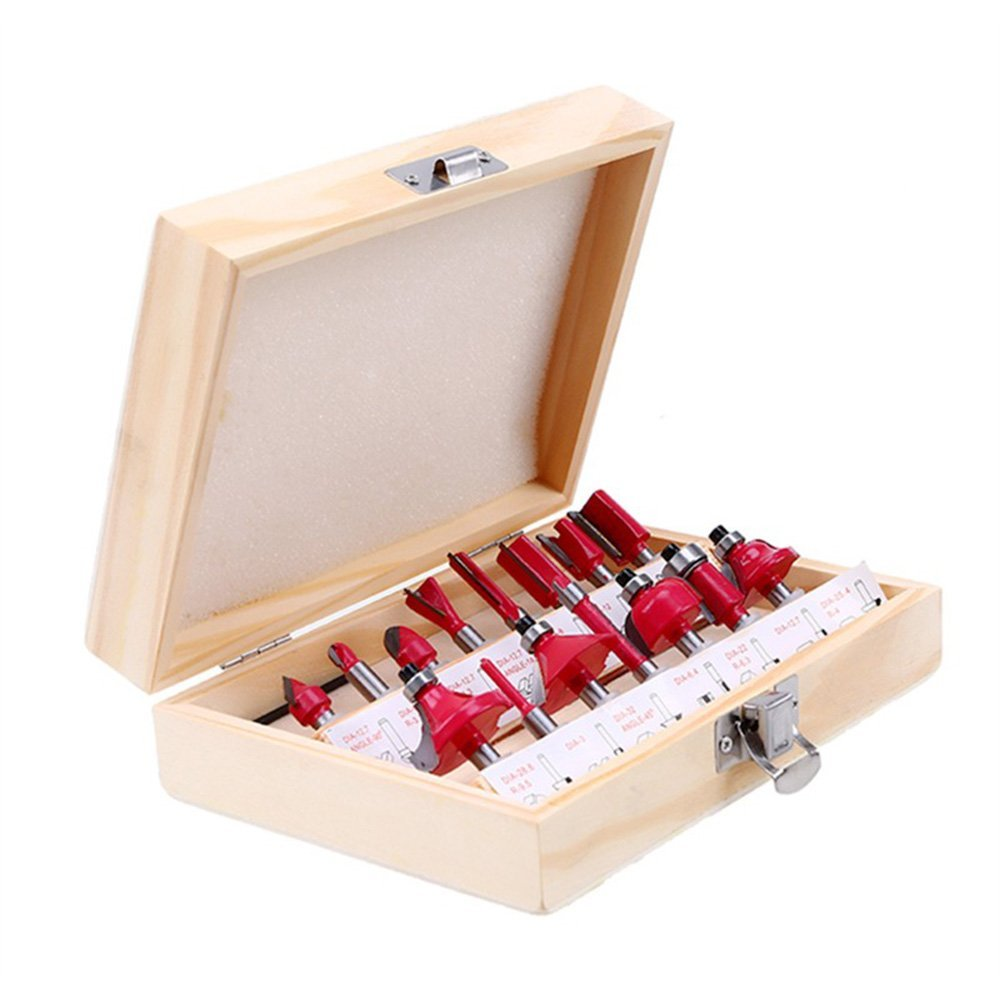 Lily's Gift Tungsten Carbide Router Bit Set,15 Piece Router Set 1/4'' Shank Woodworking Cutter Trimming Set (1/4'')