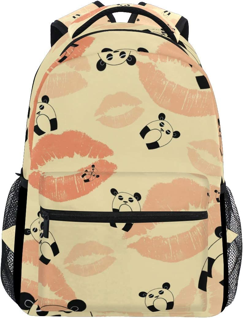 ALAZA Vintage Panda With Lips Print Stylish Large Backpack Personalized Laptop iPad Tablet Travel School Bag with Multiple Pockets