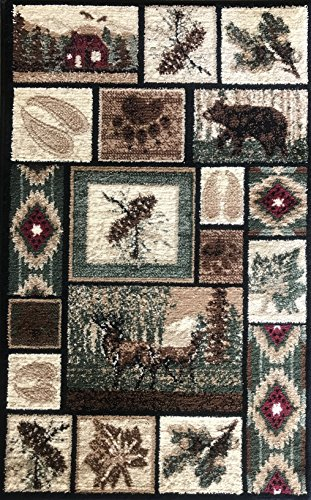 Carpet King Cabin Style Door Mat Area Rug Rustic Western Country Bear Elk Deer Wildlife Lodge Native Design 386 (2 Feet X 3 Feet 2 Inch) - Log Cabin Door