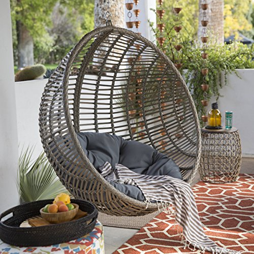 Delicieux Amazon.com : Boho Chic Style Resin Wicker Kambree Rib Hanging Egg Chair  With Cushion And Stand In Driftwood Finish : Garden U0026 Outdoor