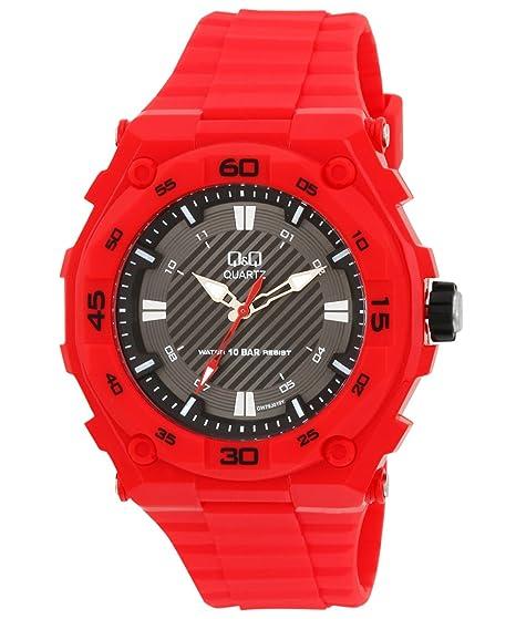 QQ resina banda gran deporte de los hombres de los relojes de pulsera rojo tono –