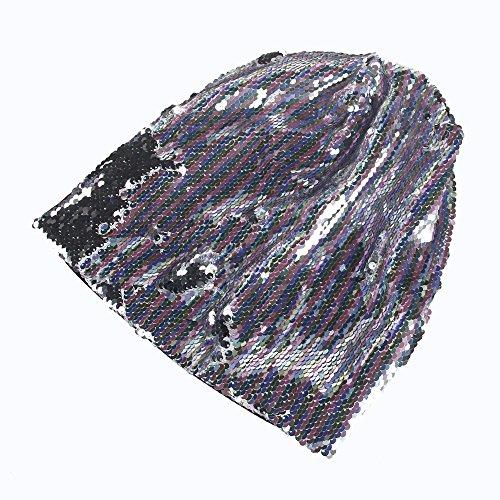 TWGONE Fashion Women Wraps Sequins Knit Crochet Ski Hat Braided Turban Headdress Cap(Free Size,Pink) -