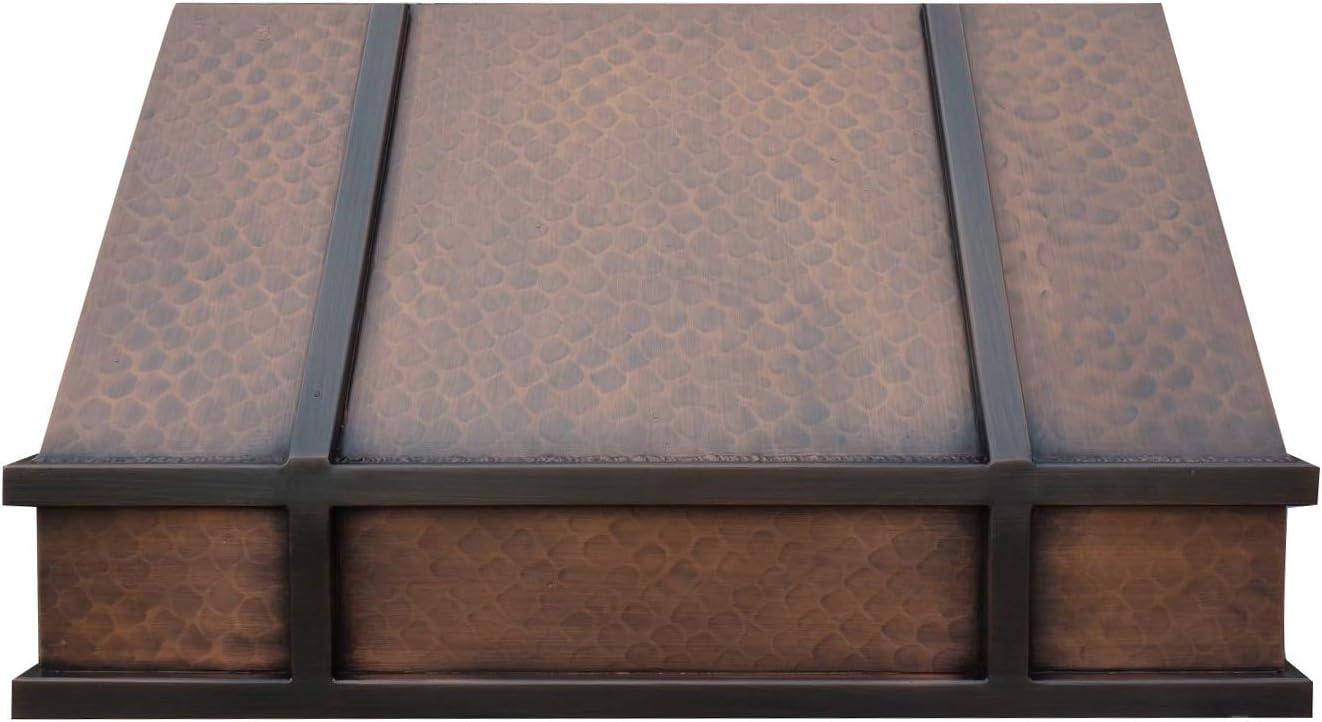 Sinda - Campana de cobre con soplador centrífugo de alto flujo de aire, incluye forro SUS 304 y filtro de deflector de deflector, motor de ventilación de alto CFM, montaje de pared/isla/techo,