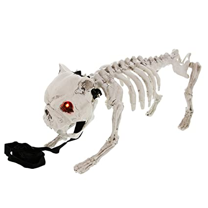 halloween haunters 16 barking and light up skeleton dog prop decoration battery operated