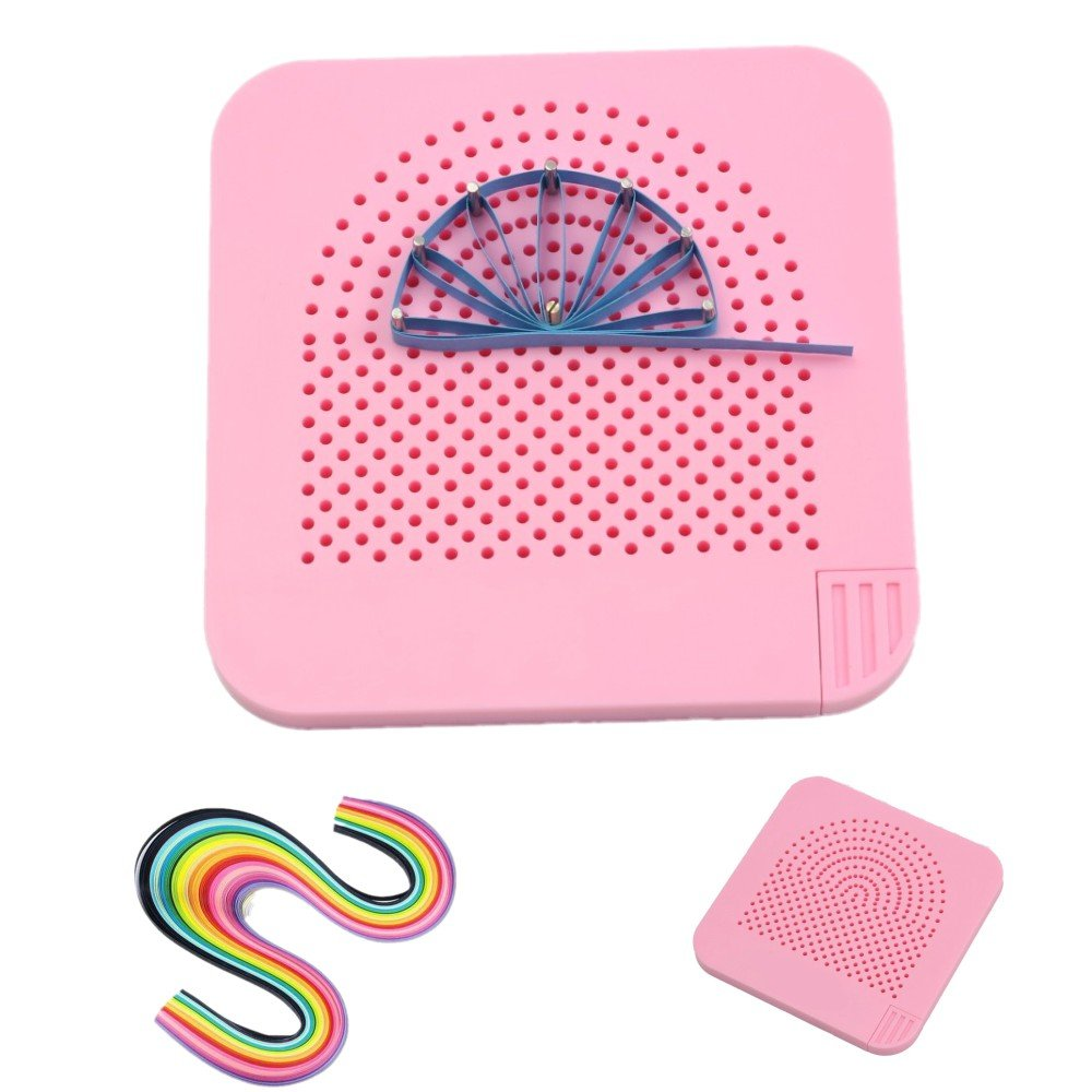 Quilling Board with Pins Storage 260pcs Quilling Papers Roll Quiller's Grid Guide for Paper Crafting Winder Roll Square Craft DIY Tool and 26 Color Quilling Papers 709202860060