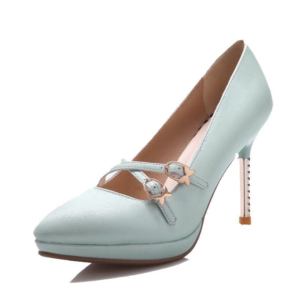 AmoonyFashion Women's Pointed Closed Toe High-Heels Soft Material Solid Buckle Pumps-Shoes, Cyan, 38 by AmoonyFashion
