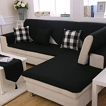 Redsun Cotton Linen Sectional Sofa Cover, Anti-Slip Solid Color Couch  Covers Stain Resistant Furniture Protector for Dogs-Black 70x70cm(28x28inch)