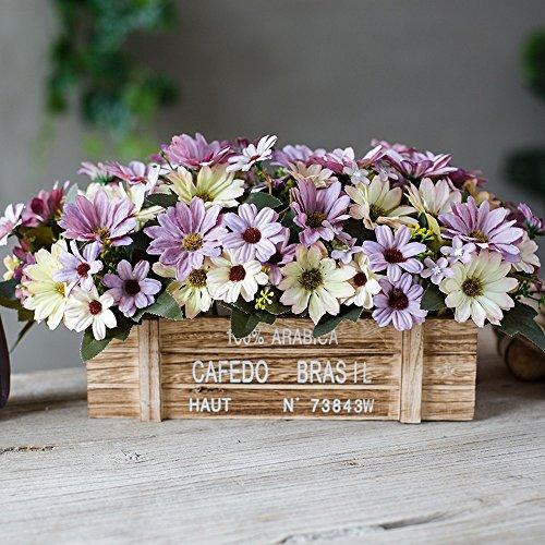 Flinfeays Artificial Flowers Creative Wooden Fence Fake Flower Outdoor Diy Wedding Party Kitchen Home Window Sill Decorative Wood Pot Flower Arrangement Purple -18