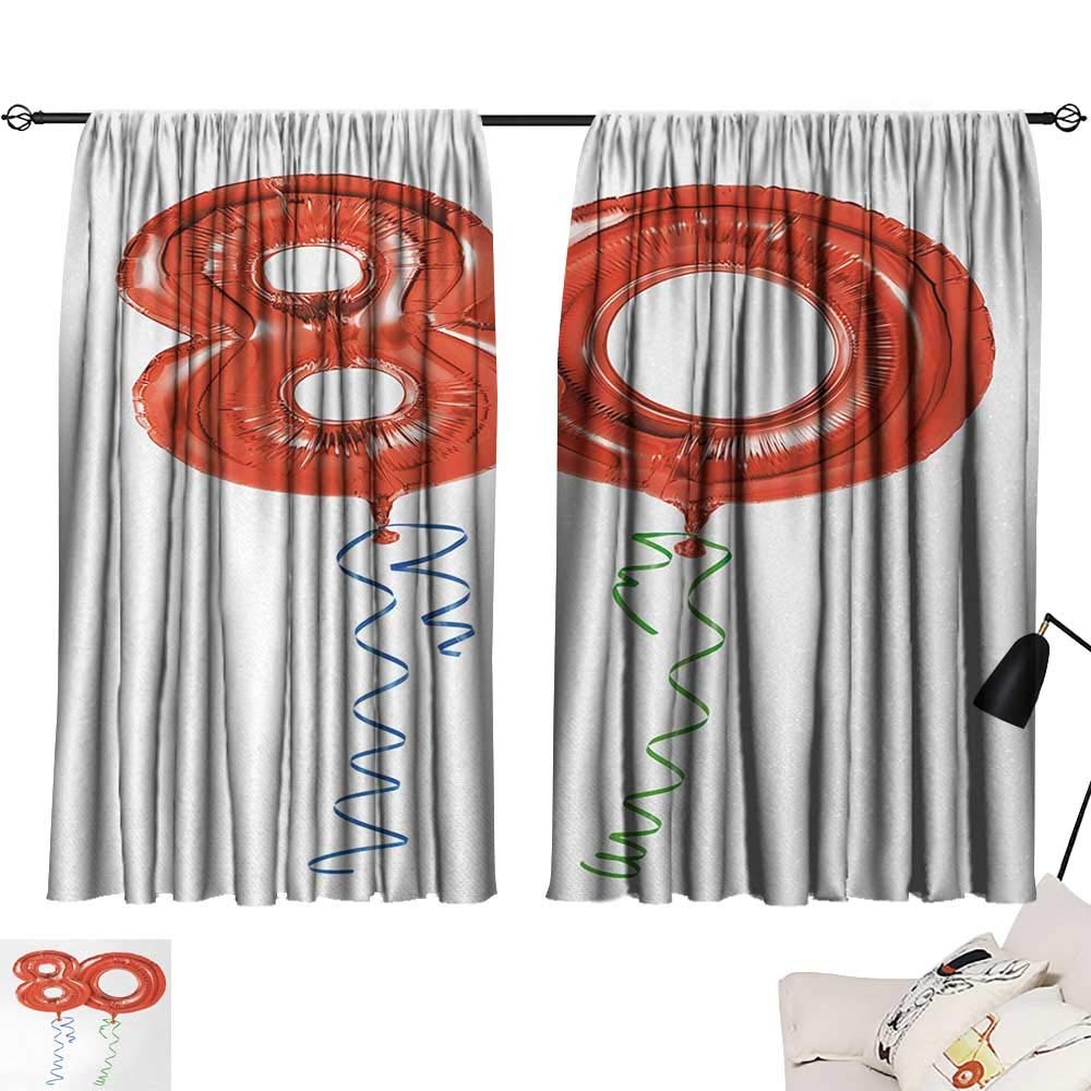 Jinguizi 80th Birthday Curtain Decoration Birthday Grandparent Party Balloons with Curvy Swirls Artistic Print Room Darkening Curtains Red Green and Blue W55 x L39 by Jinguizi (Image #1)