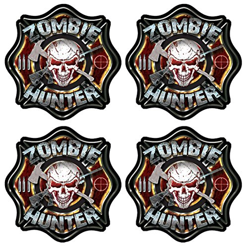 Zombie Hunter Hard Hat Stickers 4 Pack #HH012 ()