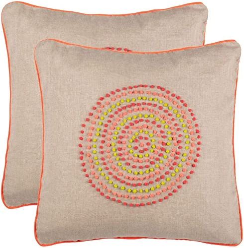 Safavieh Pillow Collection Throw Pillows, 20 by 20-Inch, Love Knots Neon Rainbow, Set of 2