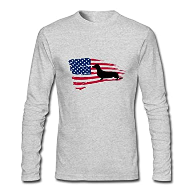Bassotto In Un Manicotto Lungo T-shirt Usa Flag TYYOvk