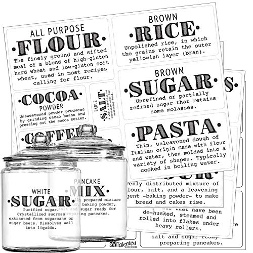 Pantry Labels - 36 Preprinted Kitchen Labels Sticker Set by Talented Kitchen. PVC Clear, Gloss, Water Resistant, Food & Spice Jar Labels for Pantry Organization and Storage (Set of 36 - Definitions)