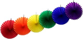 product image for 13 Inch Classic Rainbow Party Decorations (6 Fans)
