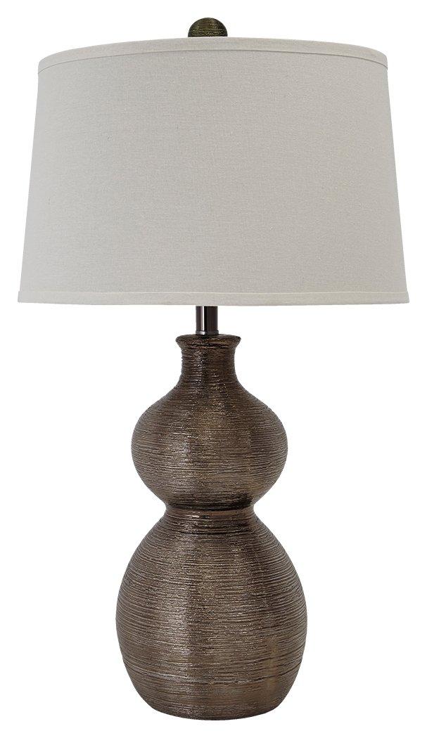Ashley Furniture Signature Design Gunmetal Finish L235394 Savana Textured Traditional Table Lamp