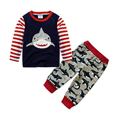16e4b3b39 Amazon.com  Winsummer Little Boy Long Sleeve Shark Tops Pants Outfit ...
