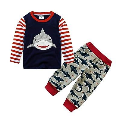 dc12d70a30a6 Amazon.com  Winsummer Little Boy Long Sleeve Shark Tops Pants Outfit ...