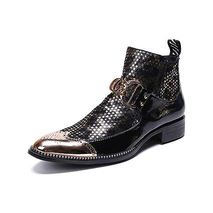 Hombres Botas de Cuero Vaquero Botines Tobillo Zapatos Metálico Dedo del pie Puntiagudo Negro Vespertino Fiesta