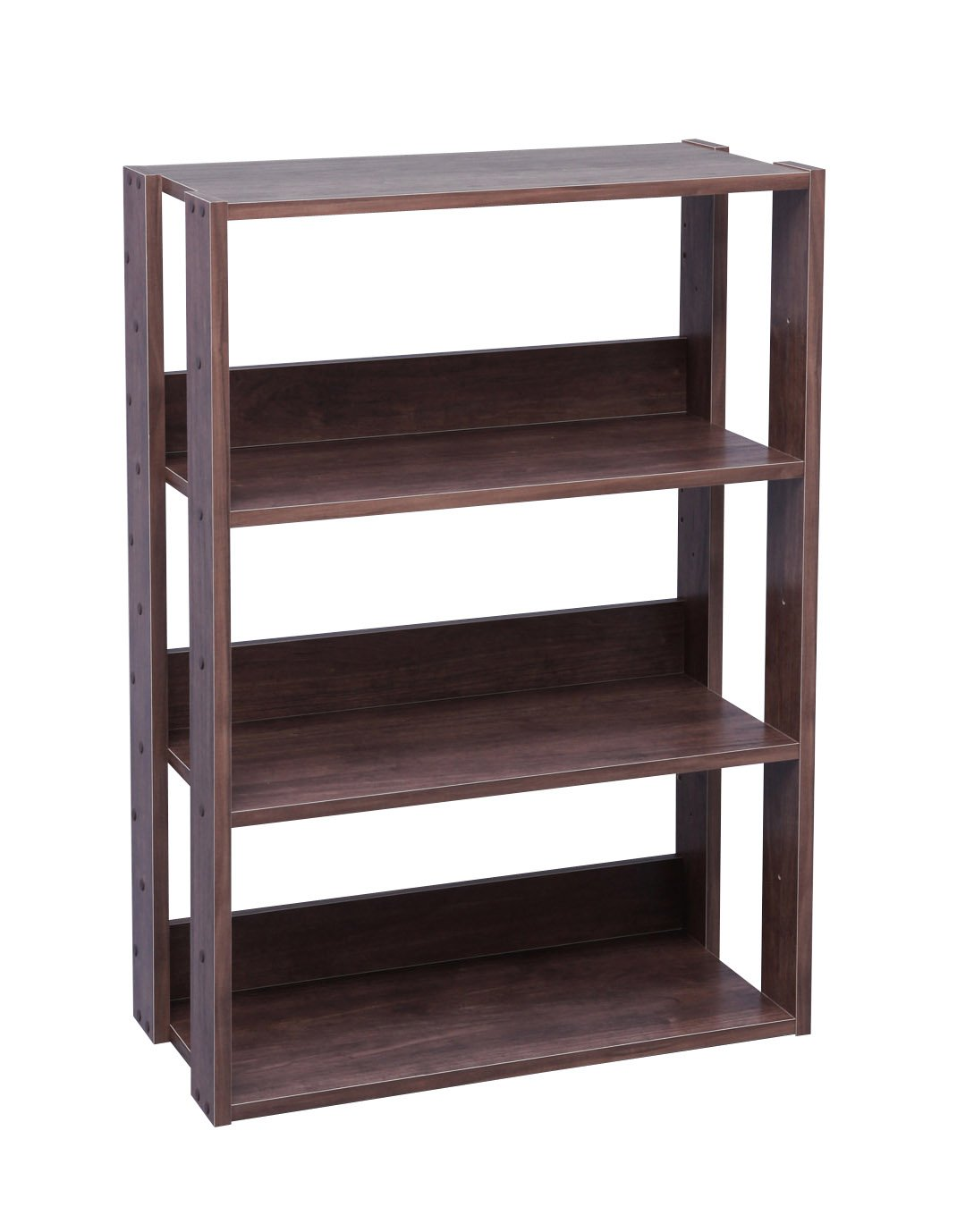 IRIS USA 3-Tier Wide Open Wood Bookshelf, Dark Brown
