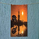 SOCOMIMI Lightweight Towel Big Giant Statue by The River at Sunset Thai Asian Culture Scene Yin for Home, Hotel and Spa