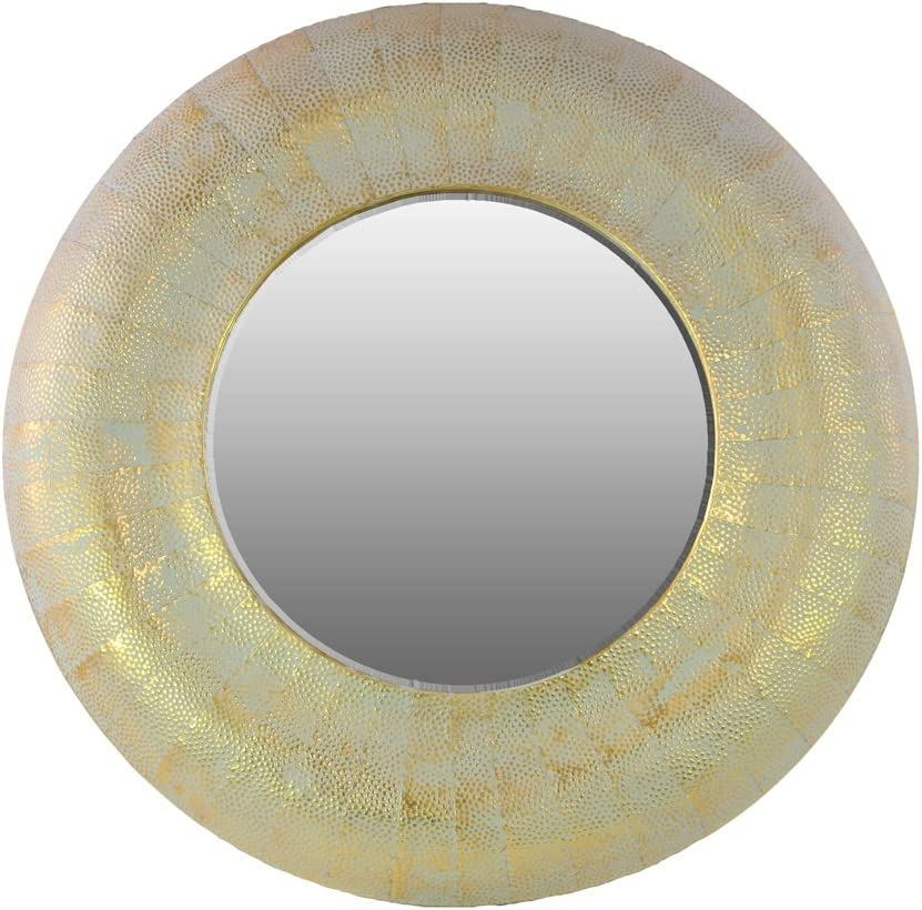 Urban Trends Metal Round Wall Mirror Weathered, Gold