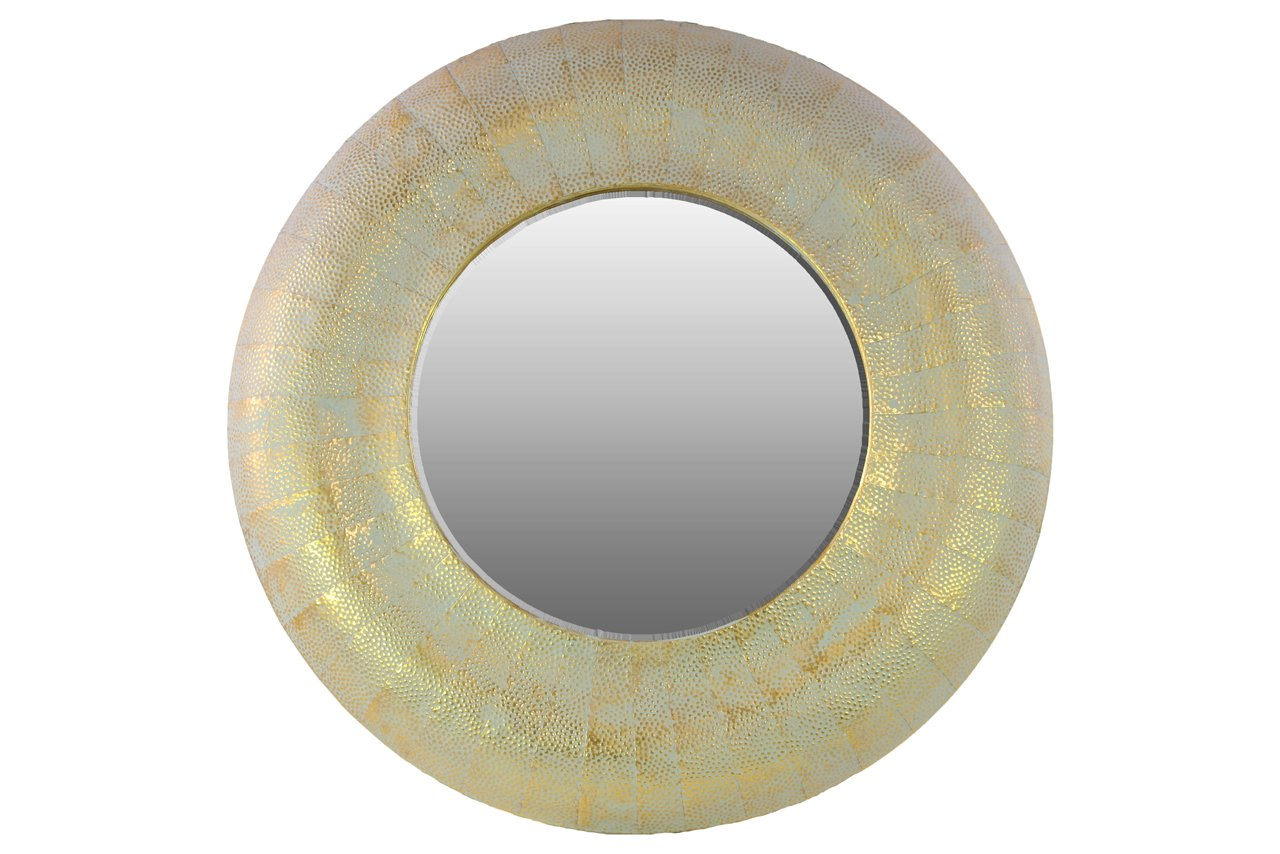 Urban Trends Metal Round Wall Mirror Weathered, Gold Urban Trends Collection 94144