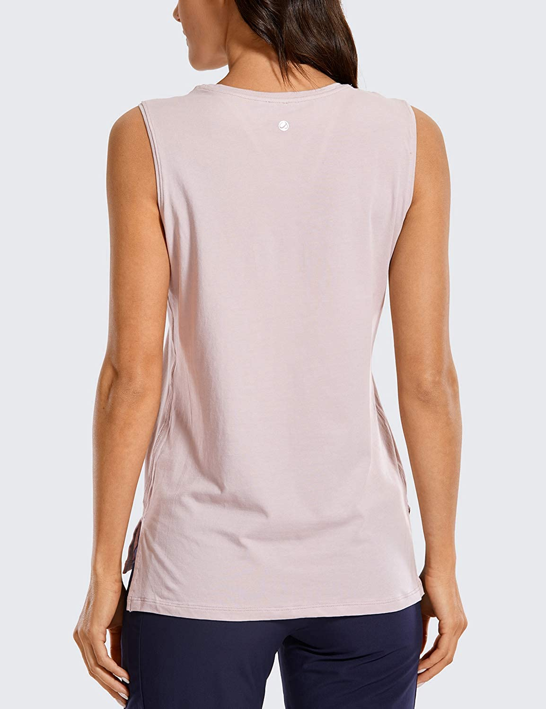 CRZ YOGA Damen Pima Cotton Sport Tanktop /Ärmelloses Sportoberteil Yoga Fitness Shirt