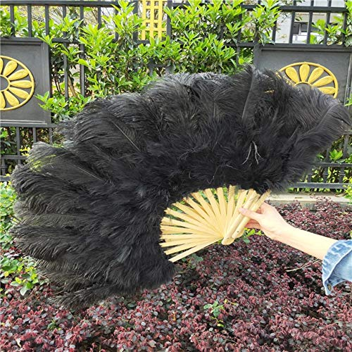 Maslin YY-tesco 5pcs/lot Ostrich Feathers Fan Bamboo Staves