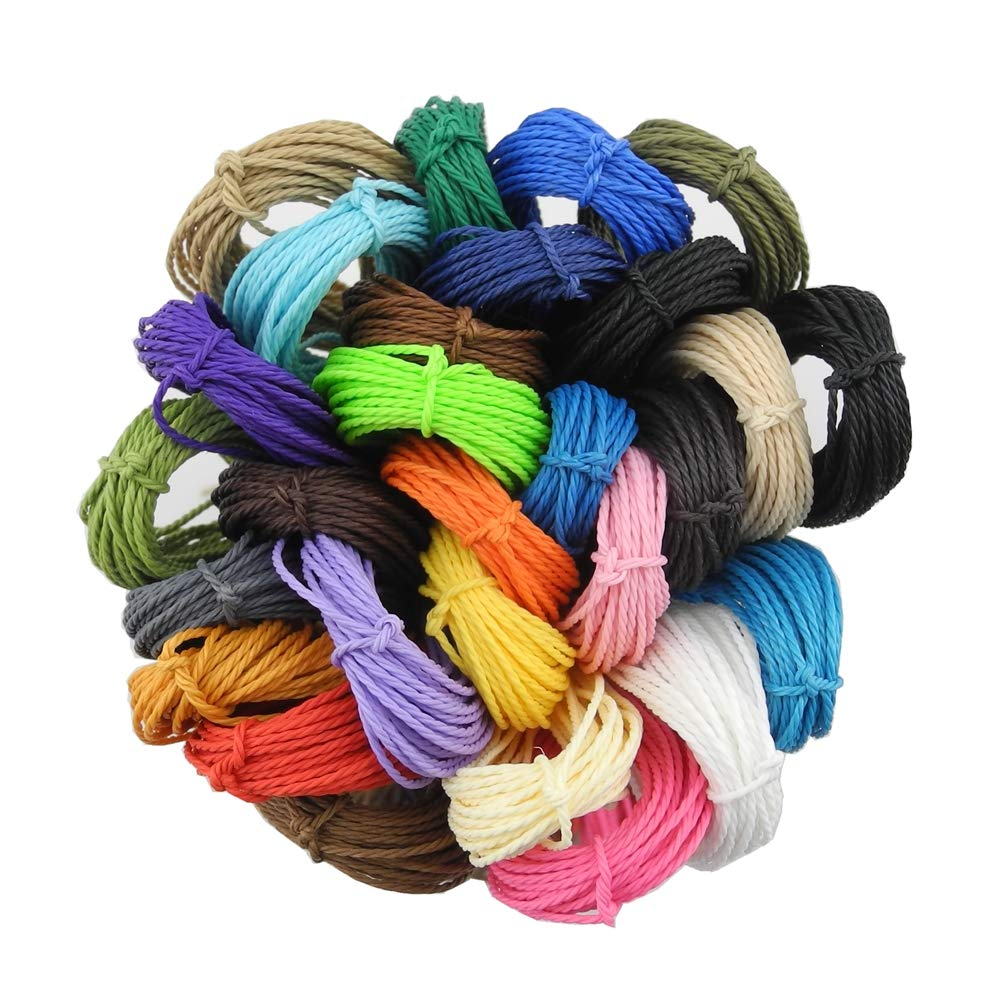 Inspirelle 1mm 28-Color Waxed Polyester Twine Cord Macrame Bracelet Thread Artisan String for Jewelry Making, 10m Each Color by INSPIRELLE
