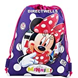 Disney Minnie Mouse Authentic Licensed Drawstring Bag Backpack (Purple)