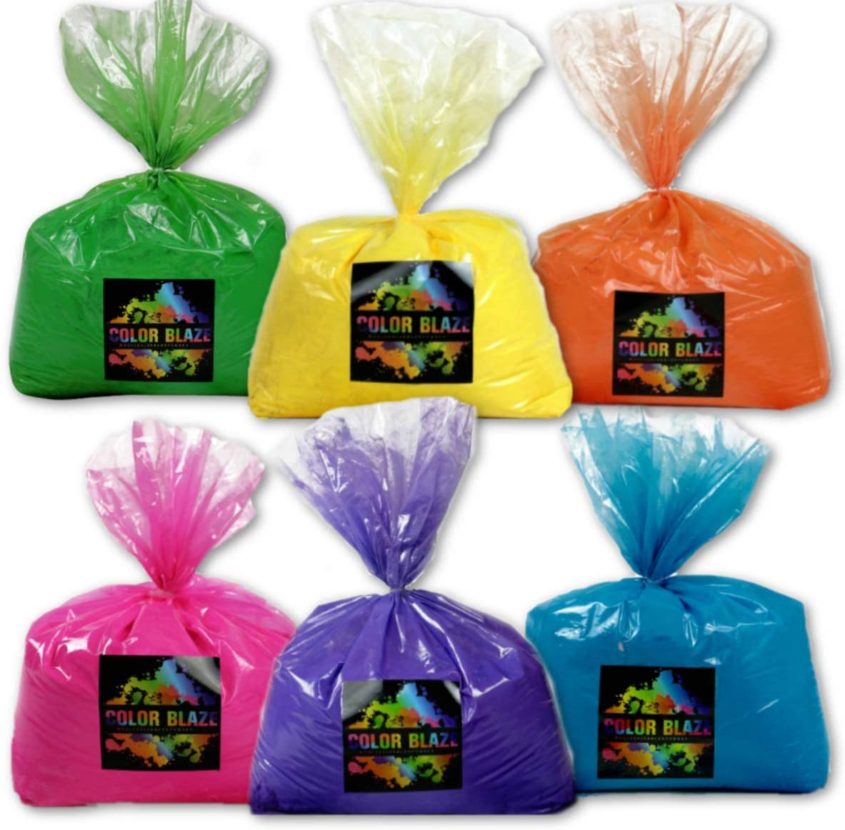 Color Blaze Six Pack - 5 pounds Each of Pink, Orange, Yellow, Green, Blue, Purple – Perfect for Fun Runs, Youth Groups, Color Wars, School fundraisers, Birthday Parties, Summer Camps - 30 lbs Total