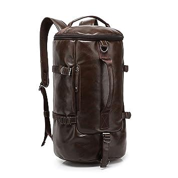 3e21e820f3ff 3 in 1 Multi Function PU Leather Travel Hiking Backpack Rucksack Weekend  Duffel Bag Handbag Satchel Men Brown