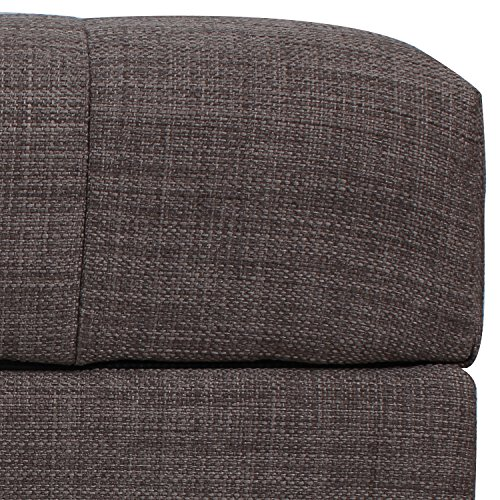 Asense Fabric Rectangle Tufted Lift Top Storage Ottoman Bench, Footstool with Solid Wood Legs, Nailhead Trim (Grey Brown ) (NEW PROMOTION ENDING SOON!!)