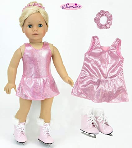 "Doll Clothes 18/"" Ice Skating Pink Tights Skates Fits American Girl Dolls"