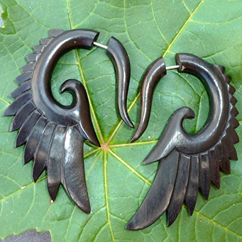 Tribal Organics Earrings Wooden Tropical Feathered Bird Style Fake Gauges 18g W...