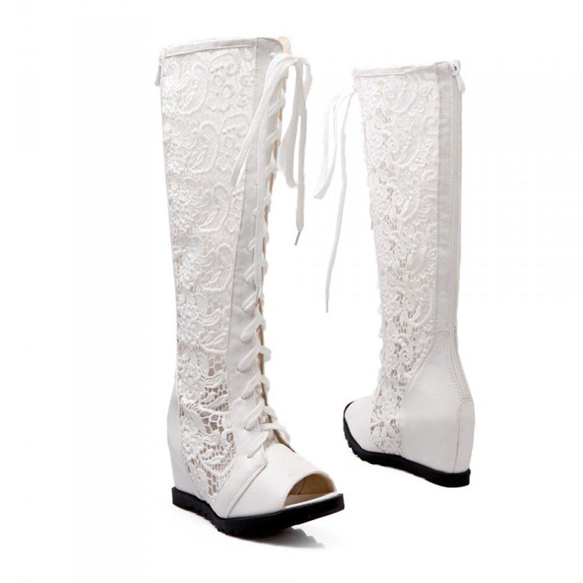 ZXMXY Damen Schuhe Frühling Sommer Herbst Mesh Sandalen Damen Cross Straps Zipper Hohe Stiefel Sandalen im Freien