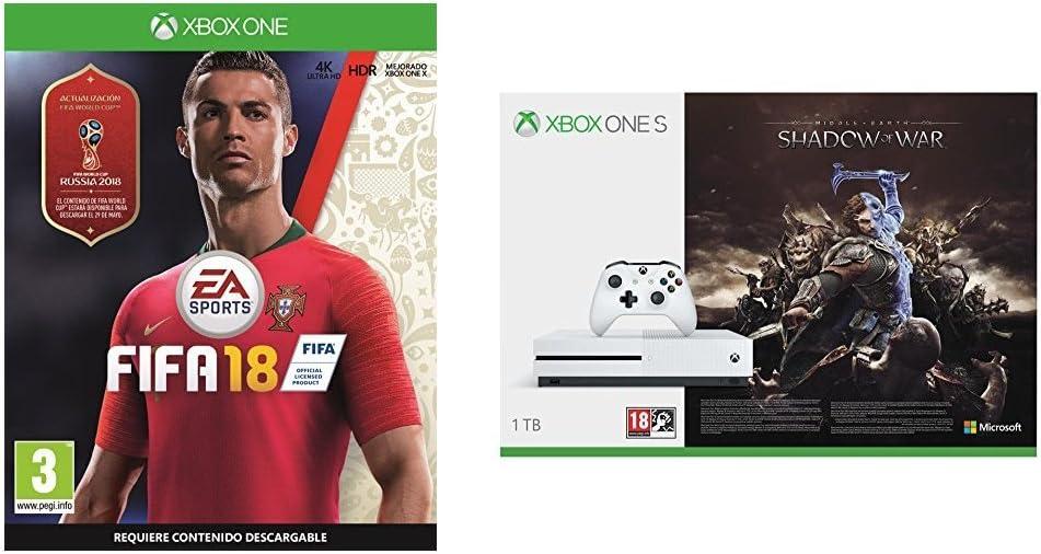 FIFA 18 - Edición estándar + Xbox One S - Consola 1 TB + Sombras De Guerra + Game Pass (1M): Amazon.es: Videojuegos