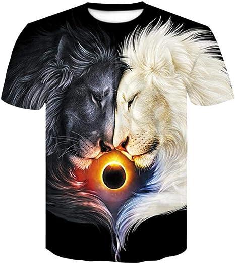 HGTZ Animal Dos Leones Negro y Beige Llama Luna Estampado 3D T Camisa Hombres/Mujeres Hipster Camiseta Casual Camiseta Chicos Camisetas Caída Nave: Amazon.es: Deportes y aire libre