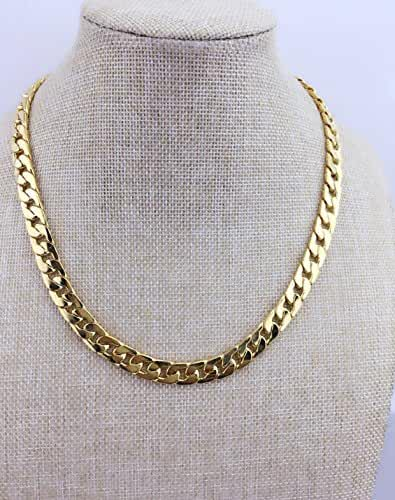 Adecco LLC Ultra Luxury Look & Feel Real Solid 14k Gold plated Curb Chain Necklace 6mm (20inch)
