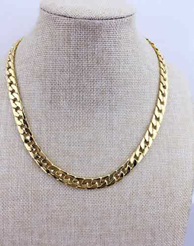 Adecco LLC Ultra Luxury Look & Feel Real Solid 14k Gold plated Curb Chain Necklace 10mm (20inch)