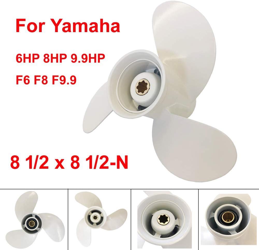 COP Boat Propeller 8 1/2x8 1/2 -N for Yamaha 6hp 8hp 9.9hp F6 F8 F9.9/ Outboard Propeller for Yamaha 2/4-stroke Engine 6G1-45941-00-EL 8.5x8.5