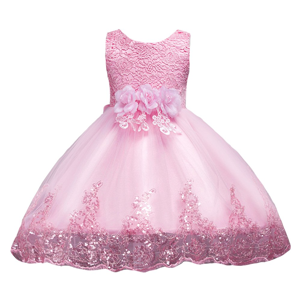 Amazon.com: LPATTERN Little/Big Girl Dress Kids Flower Tulle Lace Sequin Sleeveless Dress Pageant Party Wedding Dresses: Clothing