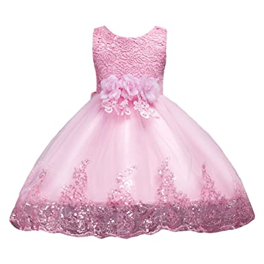 LPATTERN Little/Big Girl Dress Kids Flower Tulle Lace Sequin Sleeveless Dress Pageant Party Wedding