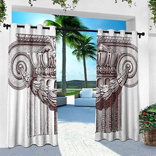 Ancient, Outdoor- Free Standing Outdoor Privacy Curtain,Classical Antique Column Roman Empire Architecture Heritage Culture Print, W108 x L108 Inch, Burgundy and White