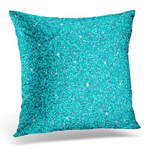 Golee Throw Pillow Cover Abstract Blue Gem with Shine and Spark Aquamarine Glitter Glamour Style for Your Party Holidays Xmas Wedding Decorative Pillow Case Home Decor Square 20x20 Inches Pillowcase Aqua Disco Dot