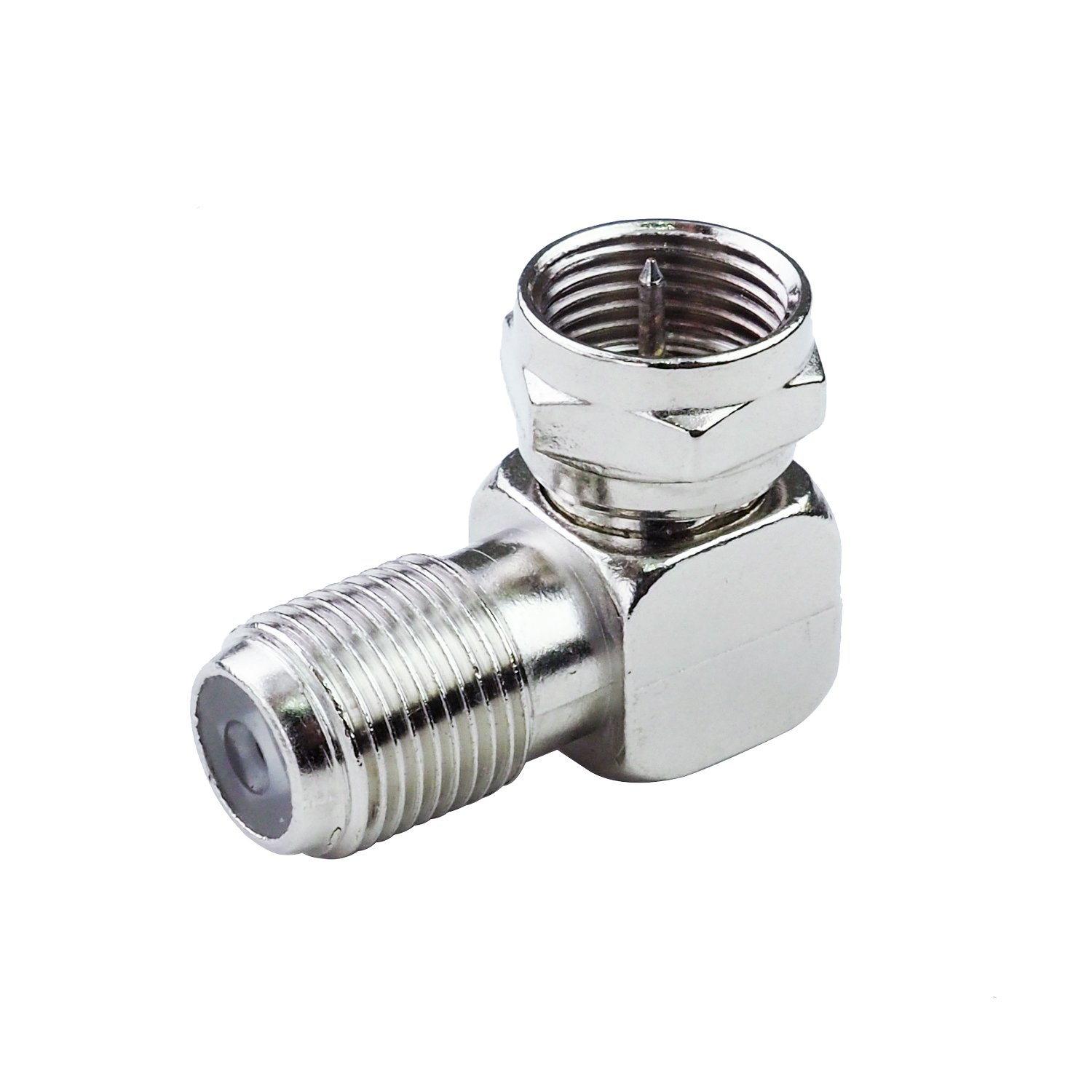 LINKOMM (10 Pack) Multimedia F-Type Female to Male Right Angle RG6 Coaxial Adapter Connector Coupler, Metal