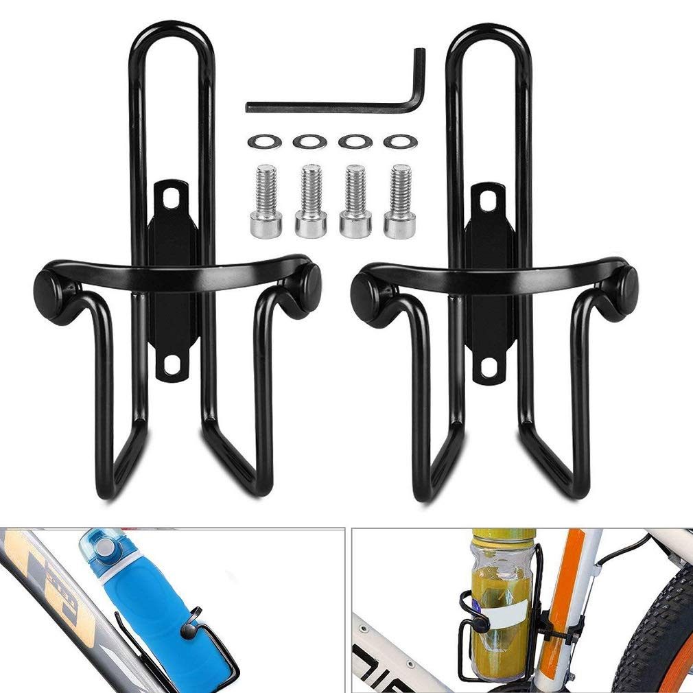 BYPA Bike Water Bottle Cages, 2PACKS Aluminum Alloy Updated Adjustable Bicycle Water Bottle Holders for MTB Bike/Road Bicycle-Easy to Install,Corrosion Resistant, Lightweight and Sturdy