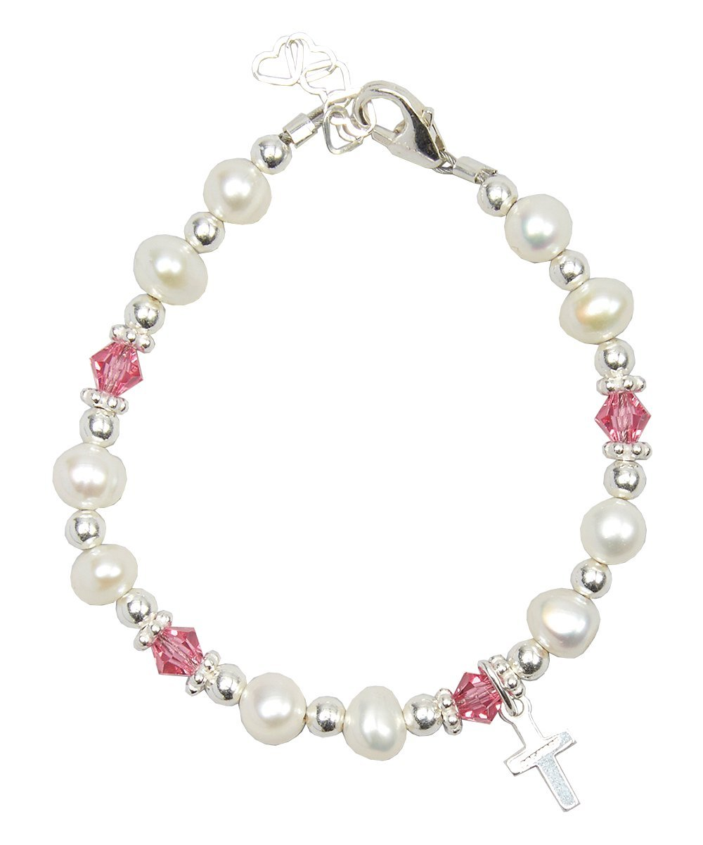 Christening Cultured Fresh Water Pearls with Clear Swarovski Crystal and Sterling Silver Cross Charm Luxury Child Unisex Bracelet Crystal Dream AZBFWCP_S
