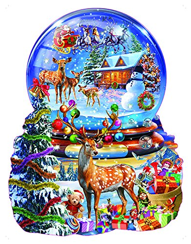 Shaped Snowman (Christmas Snow Globe Shaped 1000 Pc Jigsaw Puzzle by SunsOut)